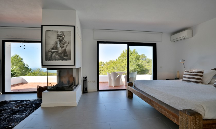 Schlafbereich Villa Ibiza mit Meerblick IBZ 14