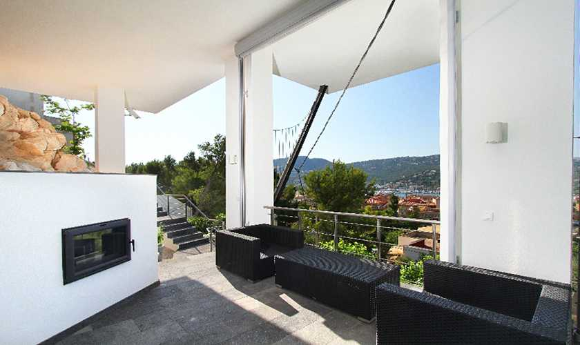 Terrasse der Luxusvilla Meerblick Mallorca PM 110