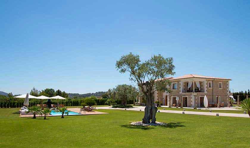 Pool und Rasenflächen Ferienvilla Mallorca PM 3115