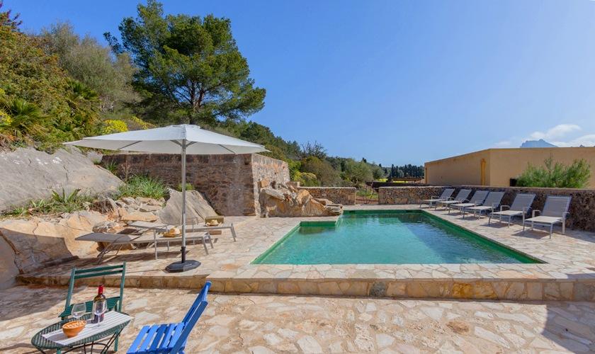 Poolblick Finca Mallorca Nordküste PM 3508