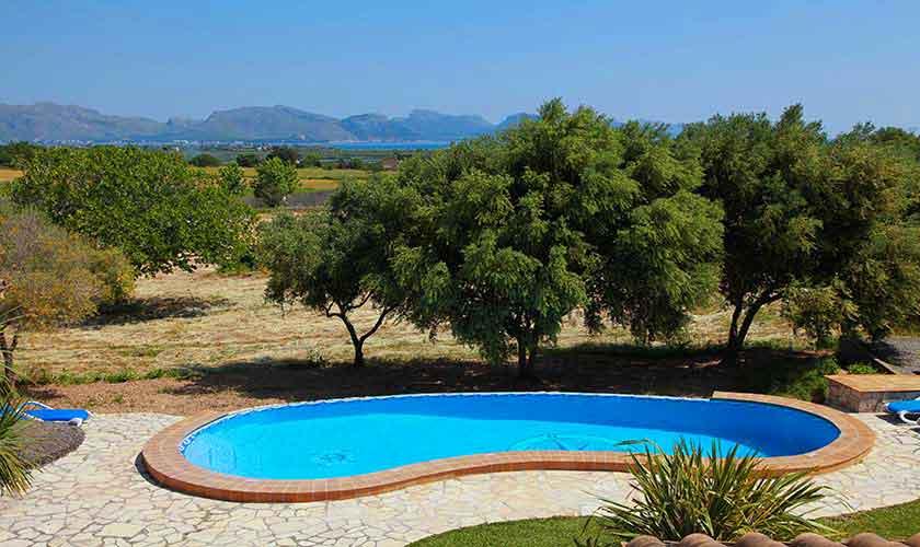 Pool und Blick Finca Mallorca 10 Personen PM 3514