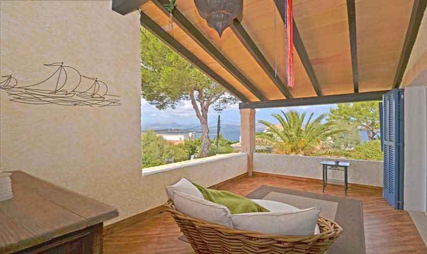 Terrasse Meerblick Schlafzimmer Ferienhaus Mallorca PM 3720