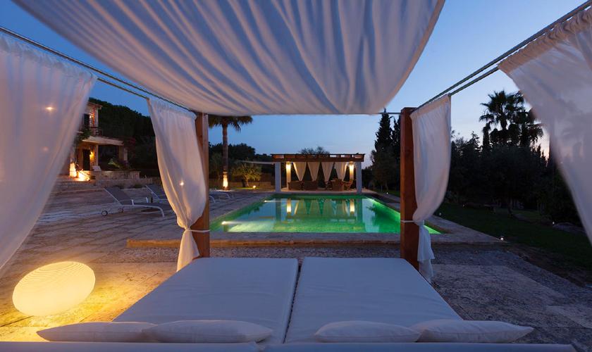 Pool bei Nacht Exklusive Finca Mallorca Norden PM 3727
