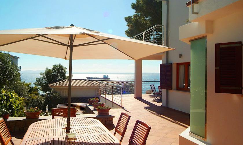 Terrasse und Meerblick Ferienvilla Mallorca PM 3802 für 10 Personen