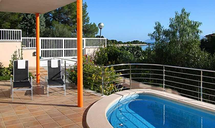 Terrasse und Meerblick Ferienhaus Mallorca Nordküste PM 380