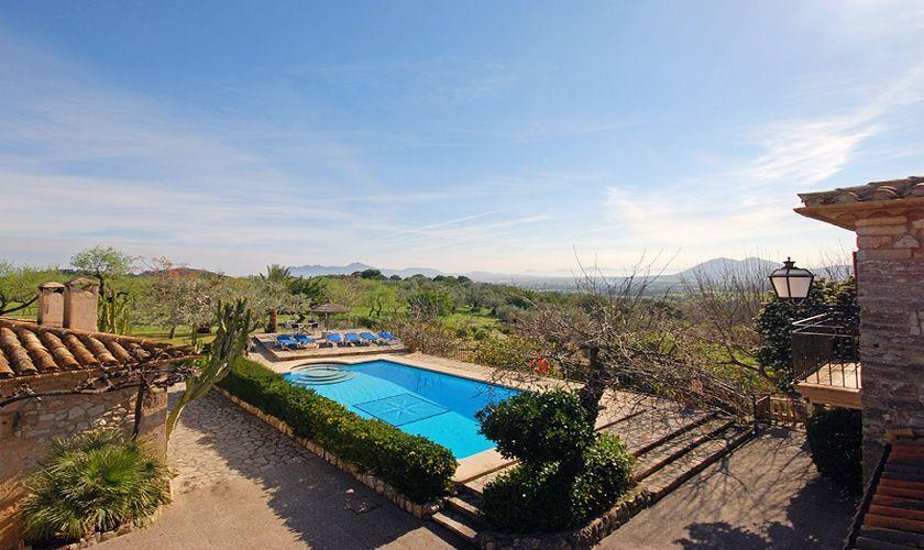 Poolblick von oben Finca Mallorca PM 384 für 10 Personen