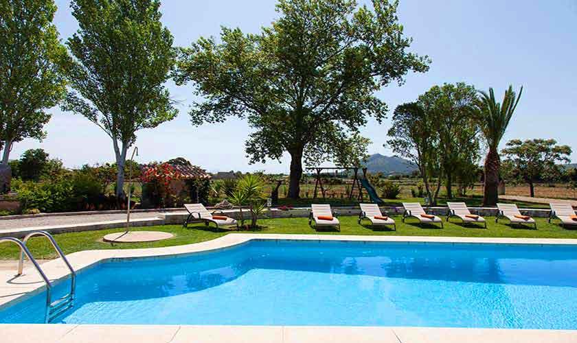Pool und Blick Finca Mallorca Norden PM 3855