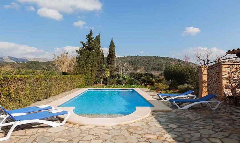 Pool und Blick Finca Mallorca Norden PM 3929
