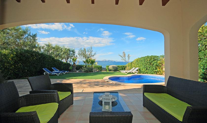 Terrasse und Meerblick Ferienhaus Mallorca PM 440