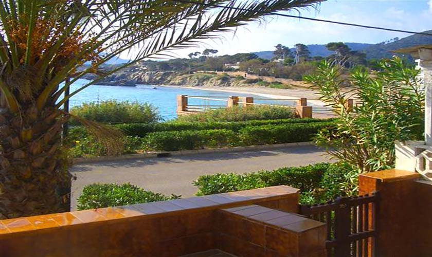 Terrasse mit Strandblick Ferienhaus Mallorca Cala Ratjada PM 547