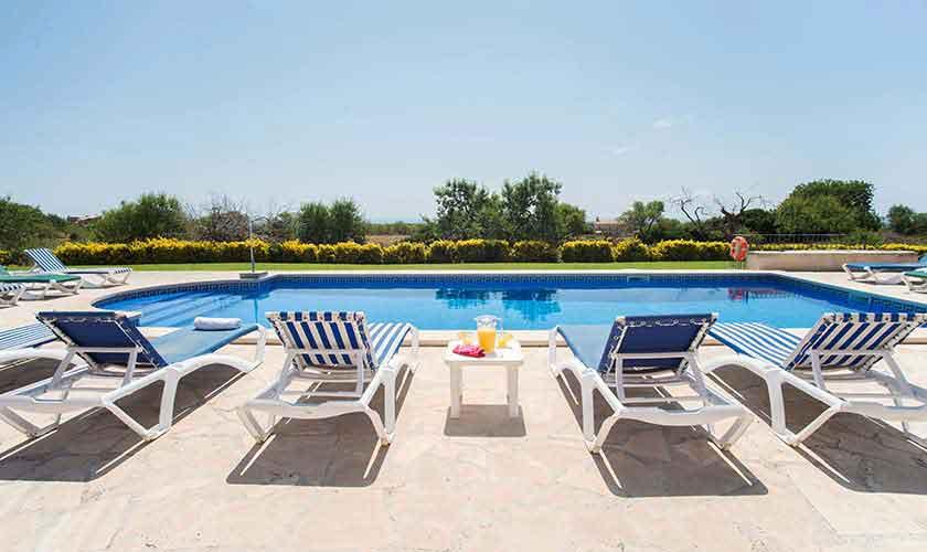 Pool und Blick Ferienhaus Mallorca Südosten PM 6547