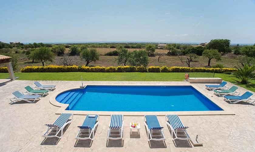 Pool  und Landschaft Ferienvilla Mallorca Südosten PM 6547