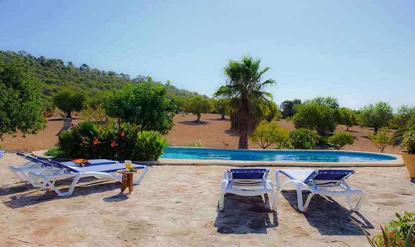 Pool und Blick Finca Mallorca Südosten PM 6568