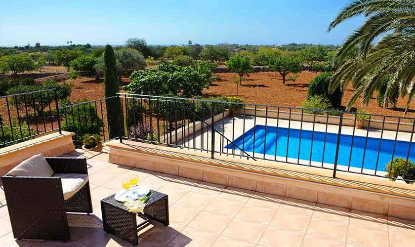 Pool und Landschaft Finca Mallorca Ostküste PM 6596