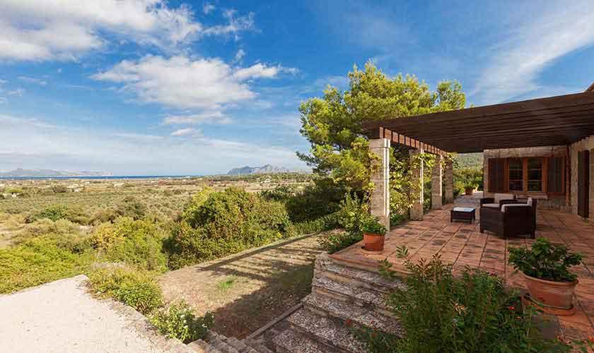 Terrasse und Blick Landhaus-Villa Mallorca PM 3740