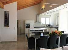 Kueche und Essplatz Ferienvilla Mallorca PM 3801 mit Pool und Meerblick