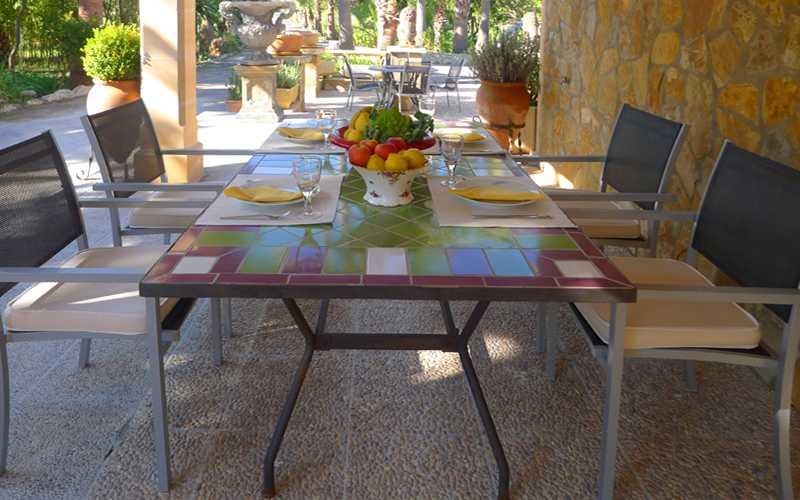 Esstisch Terrasse  der Ferienwohnung Mallorca PM 549