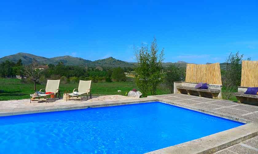 Pool und Blick Finca Mallorca bei Arta PM 5490