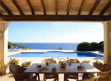 Terrasse und Meerblick Poolvilla Mallorca Südostküste PM 6575