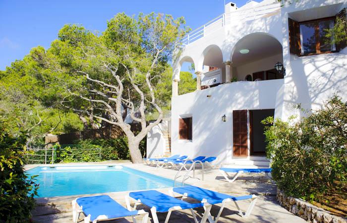 Pool und  Ferienhaus Mallorca Südosten mit Meerblick für 8 Personen PM 6576