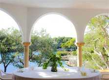 Terrasse Ferienhaus Mallorca Südosten mit Pool und Meerblick für 8 Personen PM 6576
