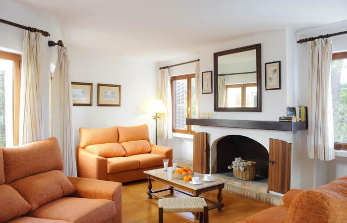 Wohnraum Ferienhaus Mallorca Südosten mit Pool und Meerblick für 8 Personen PM 6576